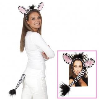 ZEBRA - SET Haarreif & Schwänzchen Tier Kostüm Zubehör - Karneval Fasching