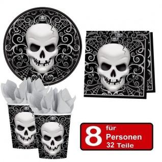 32 tlg. Halloween Party Set TOTENKOPF - Teller Becher Servietten für 8 Personen