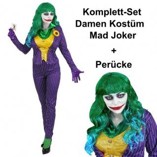 Mad Joker Damen Kostüm Komplett-Set mit Perücke - Schurkin Harlekin Clown - Vorschau