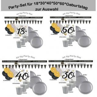 18./30./40./50./60. Geburtstag Party-Set zur Auswahl Farben schwarz/gold/silber
