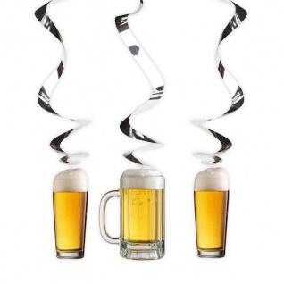 3er Set Swirl Spiral Deckenhänger - BIERGLAS - Bier Party Deko Oktoberfest