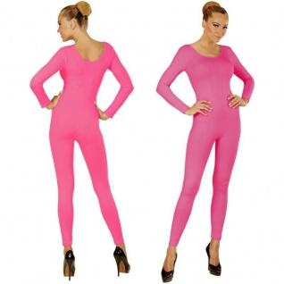 Einteiler Damen Body Overall Jumpsuit lang Sport pink, Langarm Gr. M/L, XL