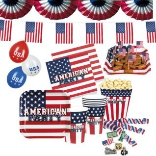 USA + AMERIKA Mottoparty Stars & Stripes Geschirr US Party Deko - TOP AUSWAHL -