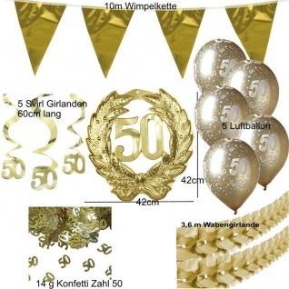 39-tlg. Deko Set 50. Geburtstag Goldene Hochzeit - Gold - 50 Jubiläum - Set 9