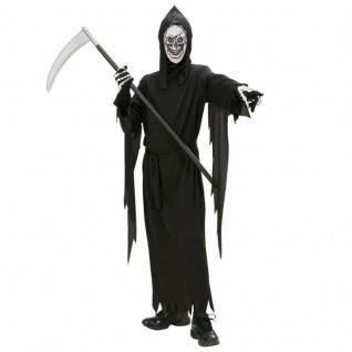 KINDER SENSENMANN KOSTÜM & MASKE TOD Halloween Jungen Skelett 128 140 158 #0314