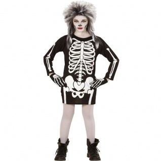 SKELETT KLEID Kinder Kostüm 140 für 8-10 Jahre Totenkopf Halloween 0367