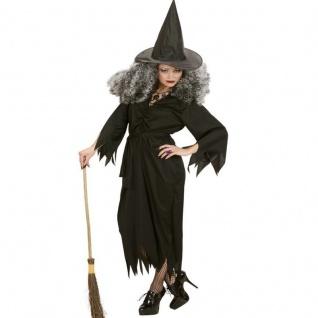 WOW Hexe Damen Kostüm Gr. 34/36 (S) schwarz WALBURGA Halloween Hexen Kleid #2651