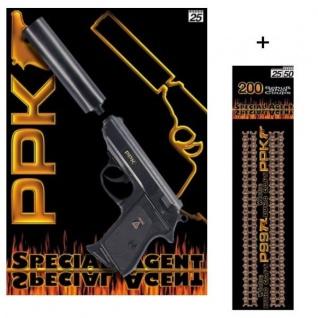 PPK Agent Pistole mit Schalldämpfer + 200 Schuß Munition Kinder Spielzeug