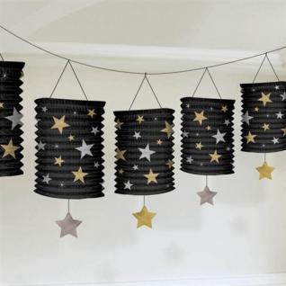 Girlande Laternen Hollywood Filmstar Party Gold & Silber Sterne Hängend 366 cm