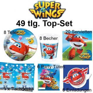 49 tlg. Top-Set SUPER WINGS Kinder Geburtstag Party Deko - Teller Becher Tischde