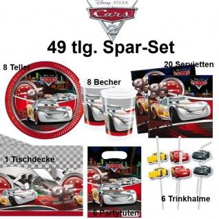 CARS silver 49 tlg. Spar-Set Kinder Geburtstag -Teller Becher Tischdecke Trinkha