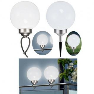 LED SOLAR KUGELLAMPE mit Balkon Geländer Clip & Erdspieß Ø 15cm - Solarleuchte