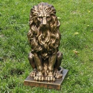 Sitzender Löwe Gold bronce ca 57x27x38 cm Deko Gartenfigur Statue Skulptur #324