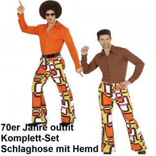 70er Jahre Herren SCHLAGHOSE + HEMD Kostüm tubes Disco Hippie Schlagermove 48-58