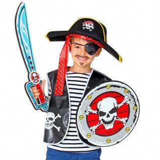 Piraten Set -Totenkopf Schild mit Schwert - Kinder Spielzeug Waffen - Kostüm
