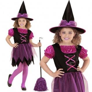 zauberhalte Hexe Farina Kinder Mädchen Kostum Kleid mit Hut - Karneval Halloween