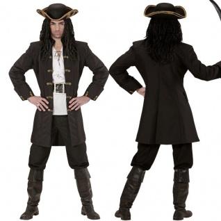 Edler Piraten Mantel Kurzmantel schwarz Herren Kostüm - Edelmann Mittelalter