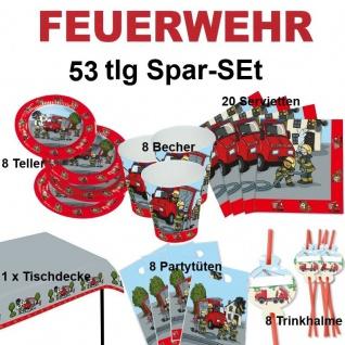 53 tlg. Spar-Set FEUERWEHR Kinder Geburtstag Party Teller Becher Trinkhalme TIP