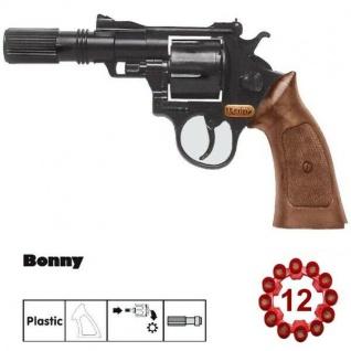 BONNY Agent Revolver mit Schaldämpfer Kinder Spielzeug Pistole 12 Schuss