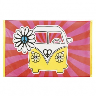 Flower power Motto Party 70er Hippie Banner Flagge VW Bus 90x150cm Party Deko