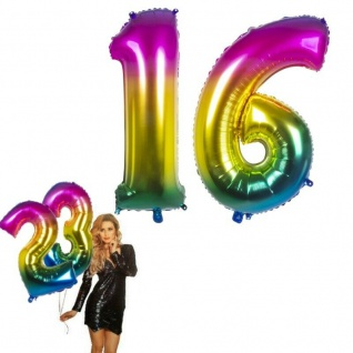 16.Geburtstag XXL FOLIENBALLON Zahl 86cm Regenbogen bunt Helium Luftballon