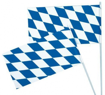 10 Papierr Fahnen Oktoberfest Bayern Party 12 x 24 cm blau-weiss