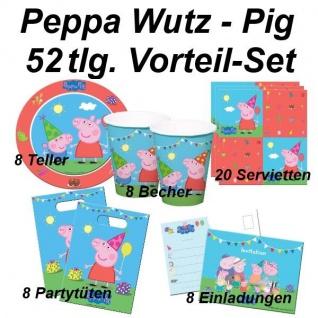 PEPPA PIG WUTZ 52 tlg. Vorteil-Set Kinder Geburtstag Party Deko - Teller Becher
