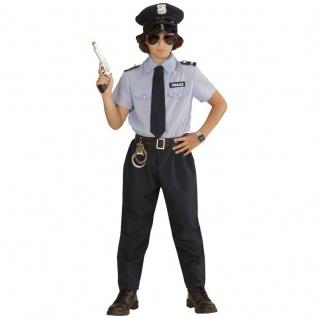 Kinder Kostüm Polizist Gr. 128 Polizei Jungen Hemd, Hose, Gürtel, Krawatte, Hut 0402