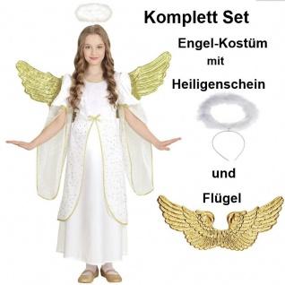GOLDENER ENGEL Kinder Kostüm + FLügel + Heiligenschein Größe 116 Komplettset