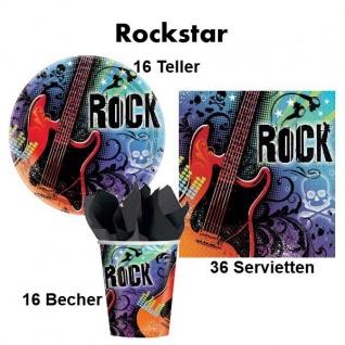 72 teiliges ROCKSTAR Party Set für 18 Personen - Teller Becher Servietten