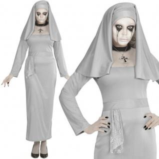 Geister Nonne grau Kleid mit Haube Damen Kostüm Halloween Horror Ghost Nun 65679