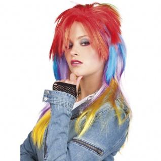 Rainbow Perücke Langhaarperücke lang Manga Damen voll Wig Regenbogen #6347