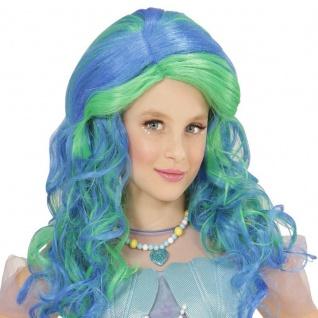 Kinder Perücke Meerjungfrau türkis Märchen Show Glamour Phantasie Nixe Kostüm