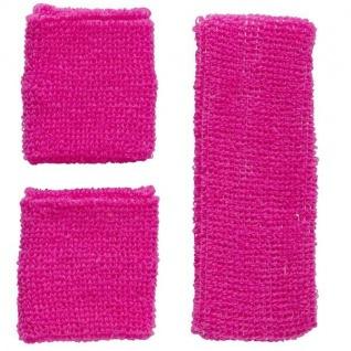 Neon Schweißbänder mit Stirnband - Pink - 3er Set - 80er 90er Jahre #5832