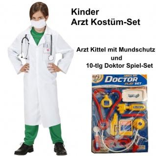 DOKTOR ARZT ÄRZTIN Kinder Kostüm Set Kittel mit Mundschutz + 10 tlg. Zubehör