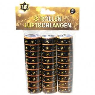 """Luftschlangen """" 18"""" Geburtstag Jubiläum Schwarz/Gold Dekoration Party Deko #007"""