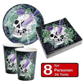 36 tlg Halloween Party Set - SKULL - Teller Becher Servietten - für 8 Personen