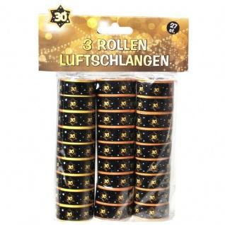 """Luftschlangen """" 30"""" Geburtstag Jubiläum Schwarz/Gold Dekoration Party Deko #005"""