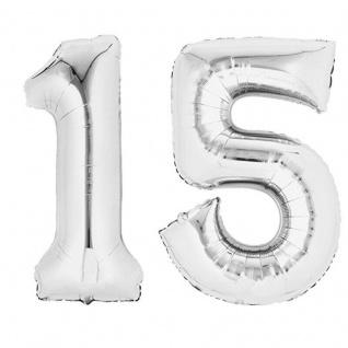 XXL Folienballon Zahlenballon Hochzeit Jubiläum Geburtstag SILBER 80cm Zahl 15