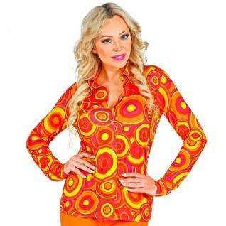 70er Jahre Damen BLUSE - Kostüm Schlager Hippie Motto Party bubble orange #0932