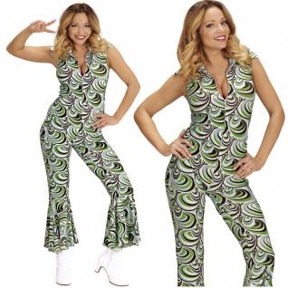 70er Disco Girl Overall mit Schlag 34/36 -S- Damen Kostüm Hippie Jumpsuit #8921