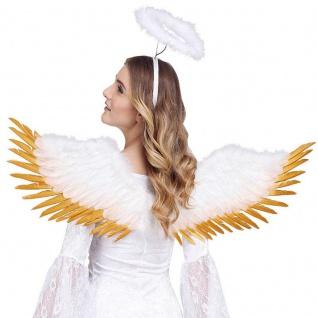 FLÜGEL echte Federflügel weiß/goldfarben 100x25cm Engelsflügel Engel Weihnachten