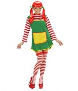 Starkes Mädchen Damen Kostüm (KLeid) Langstrumpf Girl Gr. 36 38 40 42 44 46