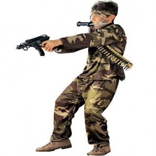 KÄMPFER KOSTÜM Kinder Camouflage Soldat Armee Militär Fasching 128 140 158