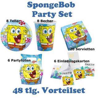 48 teiliges Party Set SPONGE BOB Kindergeburtstag, Teller Servietten Becher