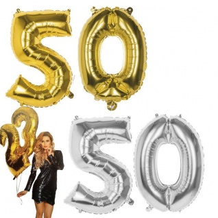 50.Geburtstag XXL FOLIENBALLON Zahl 86cm Gold /Silber Helium Luftballon Jubiläum