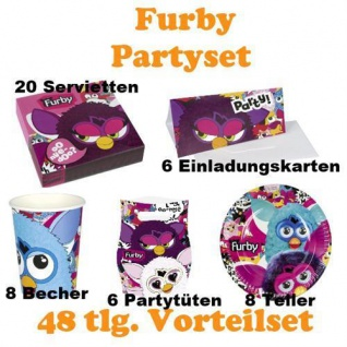 48 teiliges Party Set FURBY Kinder Geburtstag Deko , Teller Servietten Becher