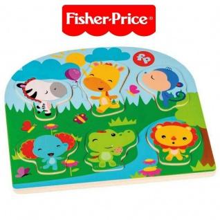Fisher Price Holzpuzzle Legespiel Legepuzzle Puzzle Holz 26x24cm Tiermotive #223