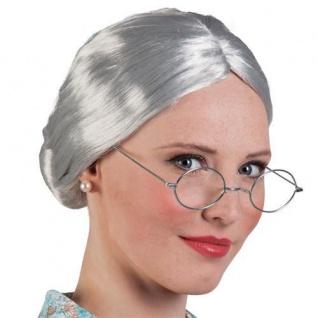 TOP Damen Mädchen Perücke für Kostüm OMA / GROßMUTTER grau mit Dutt Perrücke