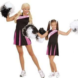 Damen Kinder Cheerleader Kleid Sport Kostüm schwarz/pink Gr. 104 cm bis Gr. 44